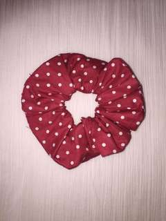 Red and white polka dot scrunchie