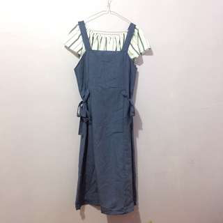 Berrybenka blue denim side knot overall