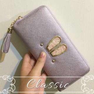 亮紫色長夾錢包