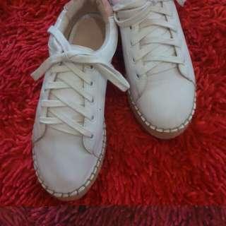 Bershka platform sneakers white / putih