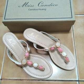 粉+白寶石夾腳楔型鞋