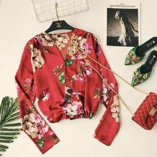 2018 Kimono Top (printed silk v collar flower blouse)