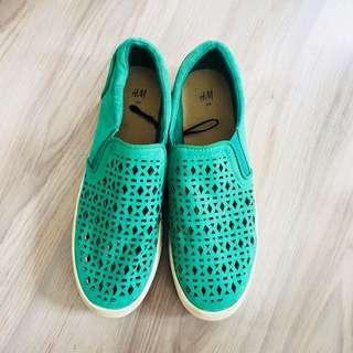 H&M Green laser cut slip on shoes