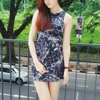 Marble Print bodycon Dress