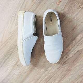 Mango White Slip on Shoes