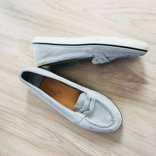 Stradivarius Gray Suede Loafers