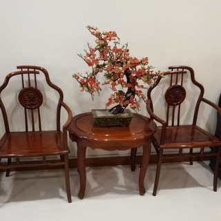 Red wood furniture set