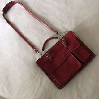 Real Leather Red Maroon Bag