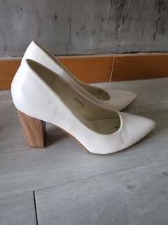 White with Wooden Heels