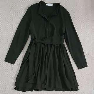 Oh Vola Julia Anne Sleeved Shirt Dress | Dark Olive | Small