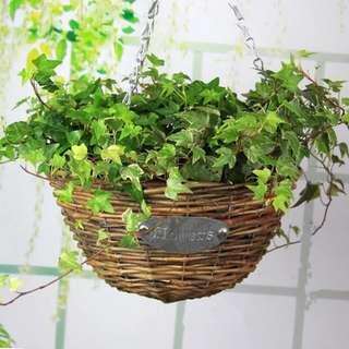 Vintage Rustic Rattan Hanging Flower Basket