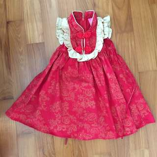 Strawberry shortcake baby red oriental dress