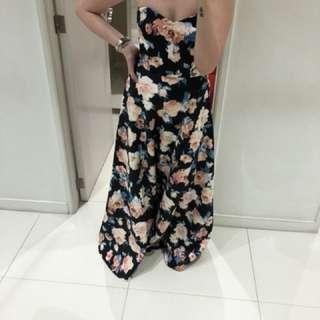 Neoprene Floral Evening Dress