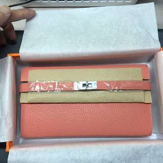 Kelly wallet Togo leather Lobster pink