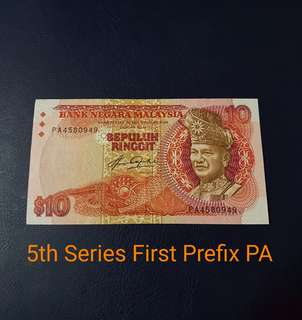 🇲🇾 Malaysia 5th Series RM10 Banknote~First Prefix PA