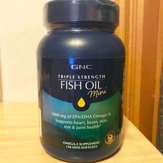 ☆暢淨血管☆截擊3高☆ GNC (Mini) 三倍超級魚油 (120粒) (Mini)Triple Strength Fish Oil  (2個月份量)