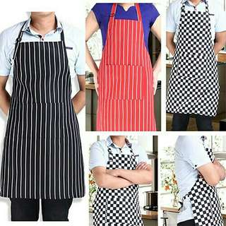 Unisex Waterproof Oilproof Stripe Bib Apron with 2 Pockets Chef Cook Tool