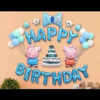 🦄 Happy Birthday Party Decor Balloon Sets - Peppa Pig