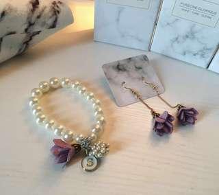 🌸姊妹系列🌸  #珍珠鏈 #手花 #耳環 #粉紅 #粉紫 #姊妹 #姊妹禮物 #Wedding #Bracelets #Earring