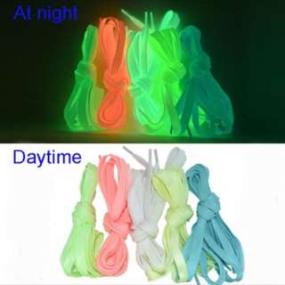 Luminous Glow in the dark shoelace shoelaces lace - pink / white / blue