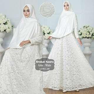 Gamis Brukat Naura putih