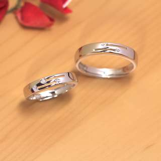 [READY STOCK][FREE SIZE] Arrow flush set diamond wedding band, silver, WB003