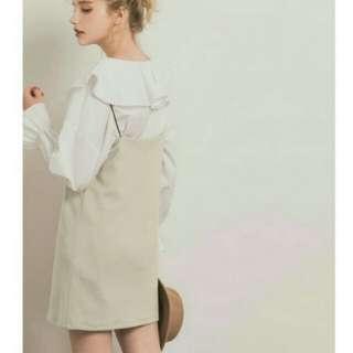 pazzo米杏絨毛吊帶裙
