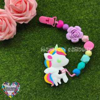 Handmade Silicone beads Pacifier Clip + Rainbow Unicorn teether combo