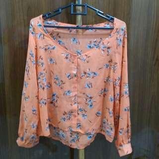 Blouse kembang orange