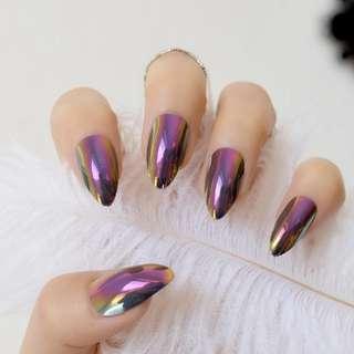 Stilettos Sharp Nails Chrome Chameleon Mirror Metallic False Nail Metal Gold Pink Fake Nails Acrylic Stiletto Nail Art