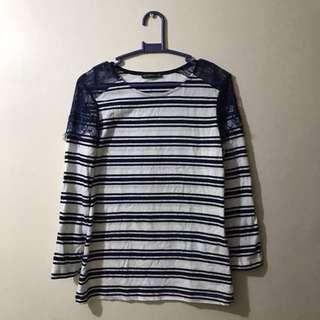TERRANOVA Blue and White Stripes Long Sleeves Blouse