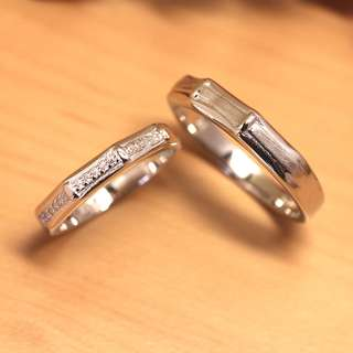 [READY STOCK][FREE SIZE] Bamboo, Wedding rings, Couple rings, Silver, WB006