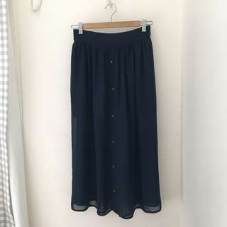 """""""Button Down"""" Navy Blue Mesh Midi Skirt with Inner Lining"""