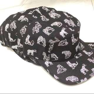 Animal Printed Black Caps Unisex Women Men