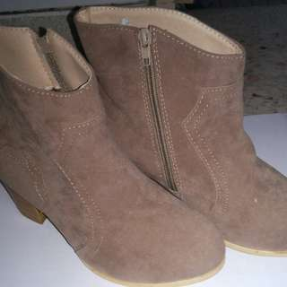 Brand New Beige Suede booties with Stylish Design