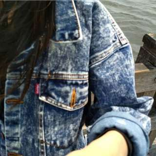 Jaket jeans over size ( snow navy )