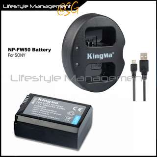 Sony NP-FW50 Battery Dual USB Charger for Nex/A7/A6000 Camera batteries