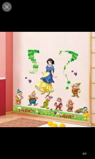 💟( $10 Each . 3 Design )Princess Prince , Snow White & Dwarf Children's room bedroom girl cute cartoon wall sticker decoration snow white romantic wall sticker Home decor