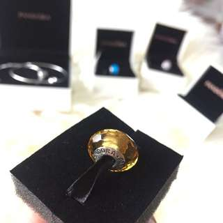 Auth Pandora Golden Faceted Murano Charm