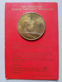 1987 Singapore Year of the Rabbit Medallion