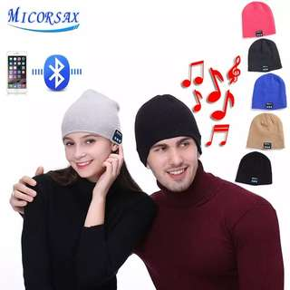 MICORSA 2018 New Wireless Bluetooth Smart Earphone Cap Music Knitted Hat Plus Velvet Thick Winter Keep Warm Hat With Mic Speaker
