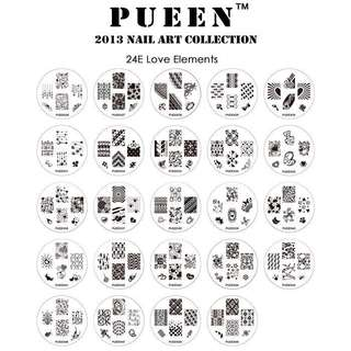 Pueen Love Elements Stamping Set (24 plates) DIY Nail Art