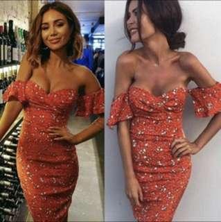 Free💌 orange midi bodycon off shoulder dress