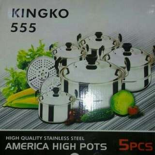 Panci Kingko 555 Stainless Steel + steamer
