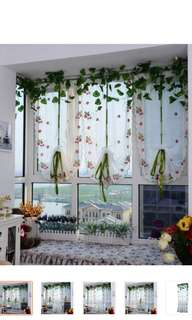 Embroidered Strawberry Tulle Window Screen Door Balcony Curtain Panel