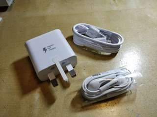 Samsung Original Fast Charger+Earphone+Cable(No handset)