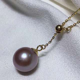100%保證天然超靚18k y字 o型鏈配紫色正圓無瑕珍珠!