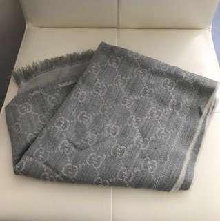 Gucci 灰白色 圍巾 頸巾 scarf