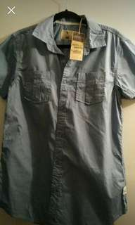 Smokey blue men's summer shirt (Medium)