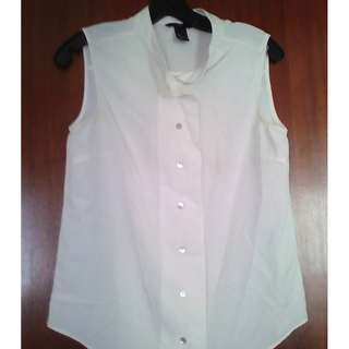 H&M Ivory White Vest Top ( EU 36 )